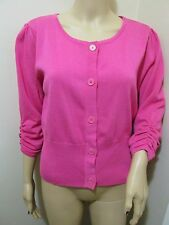 Bianca Nygard Candy Pink ruched Puff sleeve scoop knitted Cardigan sweater top L