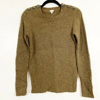 J Crew Size XS Womens Olive Green Flecked Lambs Wool Button Pullover Sweater