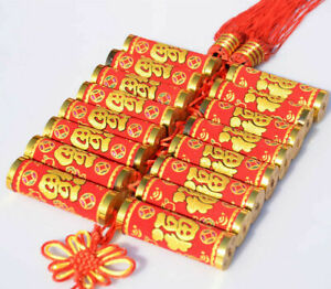bless luck Chinese Velvet firecrackers string knot pendant New Year decoration