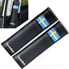 Sweden Flag x2 Seat Belt Covers Carbon Fibre Effect Soft Pads SAAB VOLVO SCANIA
