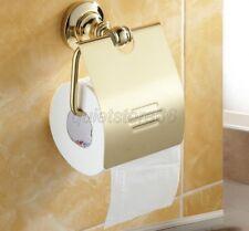 Luxury Golden Polished Brass Toilet Roll Holder Paper Bracket Wall Mount qba105