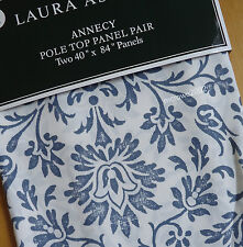 """Laura Ashley NAVY BLUE (2) WINDOW PANELS CURTAINS 84"""" Rod Floral Cottage Country"""