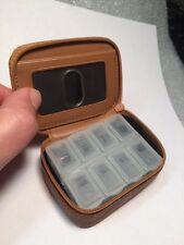 Rolfs Tan Brown Leather Zippered 7 Day w/ Plastic Insert Pill Box Case Holder