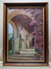 Vintage Mediterranean Landscape Oil Painting w. Vintage Wooden Decor Frame