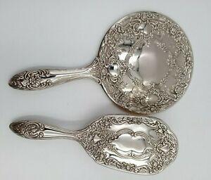 Vintage Antique Silver Plated Ornate Vanity Set Heavy Mirror Brush