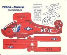 Vintage Promotional Premium Paper Punch Out Helicopter Turbo Copter