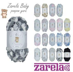 Zarela Baby Pom Pom Yarn Wool 200g ***VARIOUS COLOURS*** pompom