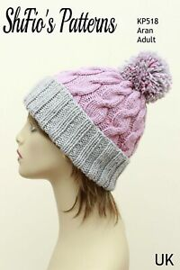 Knitting Pattern for Ladies Hat, Cable Beanie, Aran KP518