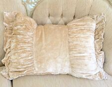 French Country Velvet Neutral Beige Rectangle Ruched Frill Couch Bed Cushion New