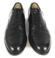 Vtg Stafford Men Comfort Plus Cap Toe Oxford Black Leather Dress Shoe US 10 D/B