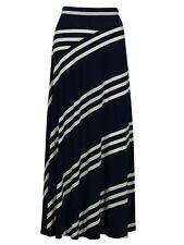 INC INTERNATIONAL CONCEPTS Navy/White Diagonal Stripe Maxi Skirt Medium