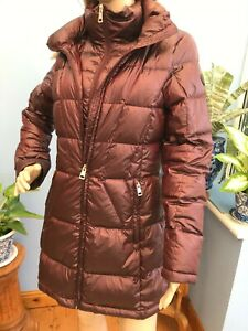 Andrew Marc Wine Red Premium Feather Down Zip Jacket Coat with Hood Size S