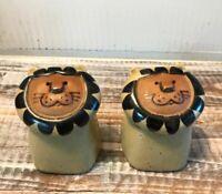 Vintage Stoneware Happy Lion Salt & Pepper Shakers Fitz Floyd Retro Kitsch