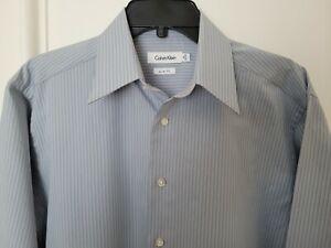 Calvin Klein Mens Slim Fit Long Sleeve Dress Shirt - 15 32-33 - Blue/Gray Stripe