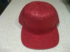 VINYL STRAWBERRY PRINT RED METALLIC  BASEBALL HAT ADJUSTABLE SNAP BACK HIP HOP