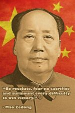CHINESE LEADER MAO ZEDONG photo quote poster TO WIN VICTORY communist 24X36