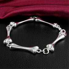 New Creative Bone Chain Bangle Bracelet Sterling Jewelry Silver Plated Gift
