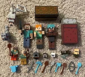 HUGE LOT OF Minecraft FIGURES & Lego Mini Figures Weapons Tools Animals Blocks