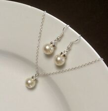 Set Single Pearl White Gold Plated Necklace & Earrings Wedding Party Jewelry