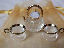 Swarovski Crystal Memories Collection Tea Set Teapot Cups Saucers Gold Trim