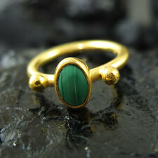 Handmade Turkish Designer Malachite Ring 22K Gold Over 925K Sterling Silver