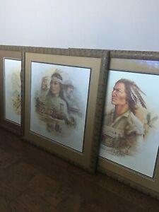 3 Large Ben Hampton Framed prints- Nancy Ward, The Raven,and Five Killer. Signed
