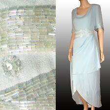 DAYMOR COUTURE Mercedes Ferrieira FORMAL Dress $450 HAND BEADED in Aquamarine 18