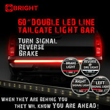 """Tailgate LED Strip Light Bar Double Row 60"""" Truck Red White Turn Stop Signal NEW"""