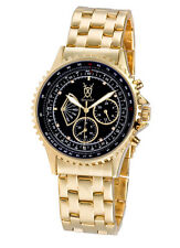 Mens Gold Watch Black Dial Multifunction Day Date Reloj De Pulsera Hombre Cheap