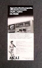 [GCG] L157- Advertising Pubblicità -1979- AKAI REGISTRATORE A CASSETTE  CS 703 D