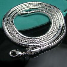 """925Sterling Silver Solid Silver 4MM 20"""" Snake Bone Unisex Chains Necklace ZN191"""