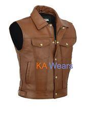 Mens Biker Leather Waistcoat Motorbike Motorcycle Zip Real Tan Vest Jacket XL