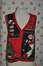 VTG Large  UGLY CAPACITY CHRISTMAS Raggedy Ann Tree Wreath  SWEATER VEST