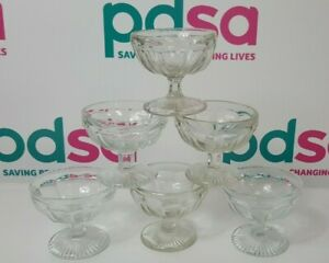 6 x Vintage? Retro Clear Glass Ice-Cream/Trifle/Dessert Stand Bowls - D1304