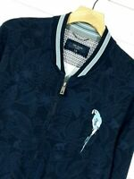 """⭐ Mens TED BAKER Monflow collage style floral zip jacket parrot size 6 XL 44-46"""""""