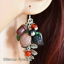 Autumn Gifts of Nature Earrings - Handmade Clay, Pagan Jewellery, Nuts, Sterling