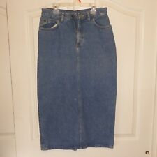 Vintage Esprit Denim Ankle Long Skirt Blue Jean Modest Slit Sz 11 Made in US