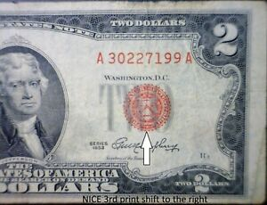 1953 $2 ERROR 3rd Print Shift RED SEAL US Currency Bank Note LOT #99  NR