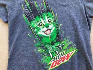 Vtg MTN DEW CAT T-Shirt MEDIUM Wild Kitten Gamer Tee Do The Mountain Dew