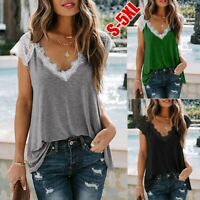 Women Lace Sleeveless Vest Tank Tops Ladies Loose V-Neck Camisole Blouse T-Shirt