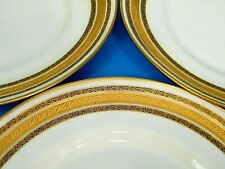 "New Listing6 Pc LiMoges France M Redon Gold Encrusted Scroll StriPe 10.5"" DiNner Plate Set"