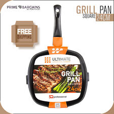24cm Carbon Steel Non-Stick Square Griddle Grill Pan For All Hobs Induction BBQ