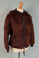 Hooded Vintage 80's Genuine REAL Chestnut Rabbit Fur Swinger Jacket Coat 12