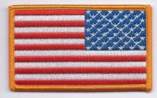"""US American Flag Reverse 3.25"""" x 2"""" Gold Border Patch HIGH QUALITY"""
