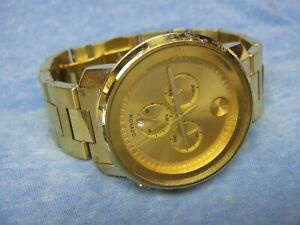 "Men's Swiss MOVADO ""Bold"" Water Resistant Gold Chronograph Watch w/ New Battery"
