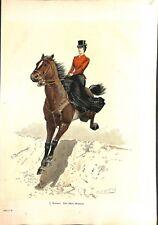 Une amazone audacieuse cheval équitation par E. Zimmer peintre ILLUSTRATION 1900