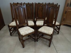 Fine Quality Set of Ten 10 Solid Oak Antique Style Dining Chairs