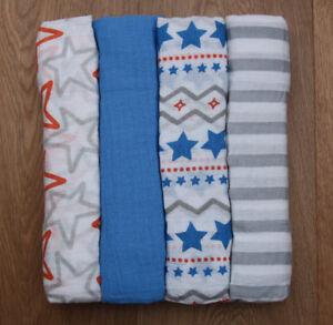 Aden Anais Baby Boy Swaddle Blanket~Blue, Gray, White & Orange~Small Fry~Pick 1