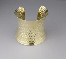 "Gold cuff bracelet stamped hammered pattern metal bangle cuff 2.5"" wide shiny"
