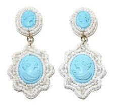 """AMEDEO """"Nel Blu"""" Handcarved Sim Turquoise Cameo Beaded Drop Earring"""